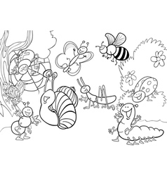 happy insects for coloring book vector image