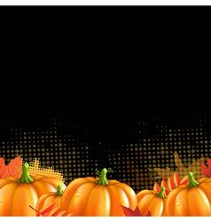 Orange Autumn Leafs And Pumpkins Frame vector image