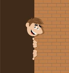 a happy person watch from behind the brick wall vector image vector image
