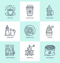 coffee making brewing equipment line icons vector image vector image