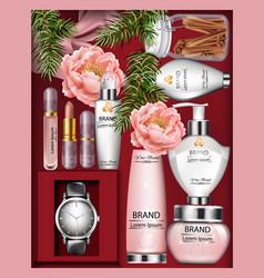 cosmetics gift box realistic lipstick vector image vector image