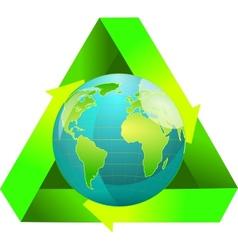 Globe wiht recycling symbol vector image vector image
