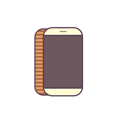 line icon white mobile phone isolated vector image vector image