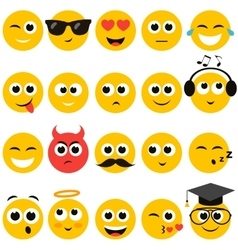 smiley faces set vector image