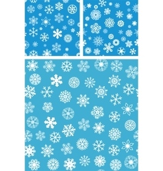 3 Snowflakes Seamless Background set vector