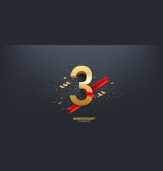 3rd year anniversary background vector image