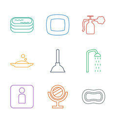 9 bathroom icons vector