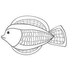 A children coloring bookpage a cartoon fish image vector