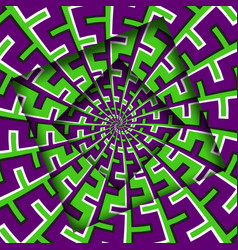 Abstract turned frames with a rotating purple vector