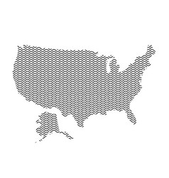 abstract usa country silhouette of wavy black vector image