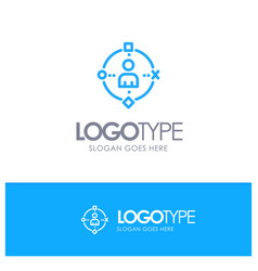 Ambient user technology experience blue outline vector