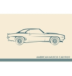 American muscle car silhouette 60s vector