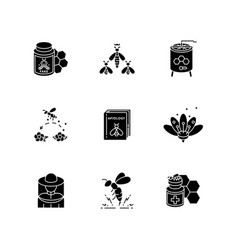 Apiculture black glyph icons set on white space vector