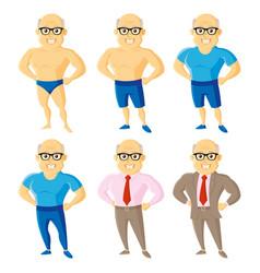 athletic old men set cartoon character vector image
