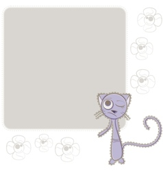 background with blue cat vector image