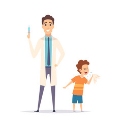 Bacoughs little boy and doctor flu virus vector