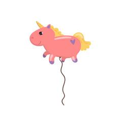 Balloon in the form of pink unicorn animal cartoon vector