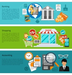 Banking shopping and accounting banners vector image