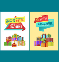banner set with gifts and advert tapes vector image
