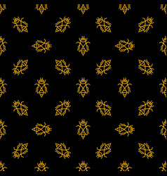 bee dark seamless pattern in thin line vector image