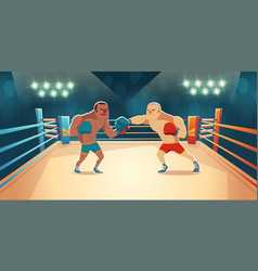 Boxers fighting on ring opponents wrestling match vector