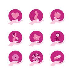 Breast cancer awareness pink support icon set vector