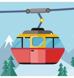 Cable Car in Flat Design vector