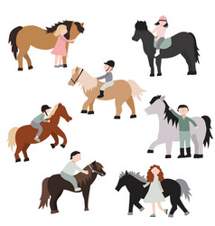 cartoon characters kids riding ponies set vector image