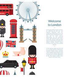cartoon london sights banner vector image