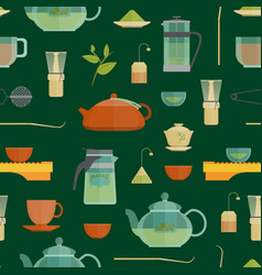 cartoon tea ceremony seamless pattern background vector image