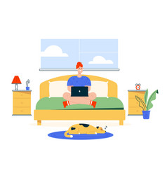 character work from home stay home and safe flat vector image