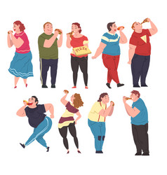 cheerful fat people eating fast food set cheerful vector image