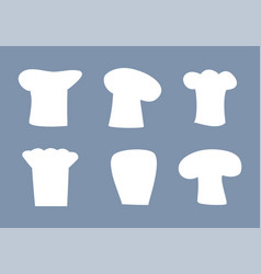 chef hats white silhouettes set of all designs vector image