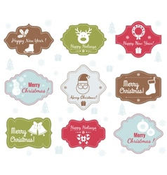 Christmas badges collection vector