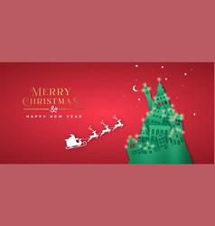 Christmas new year paper cut pine tree winter city vector