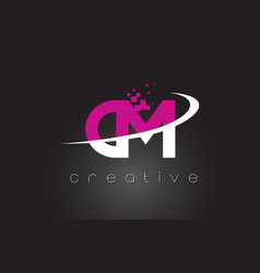 cm c m creative letters design with white pink vector image
