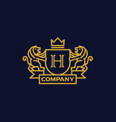 Coat of arms letter h company vector