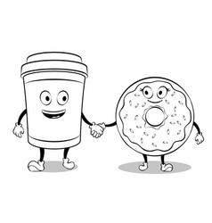 Coffee cup and donut coloring book vector