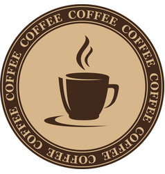 coffee cup in round frame vector image