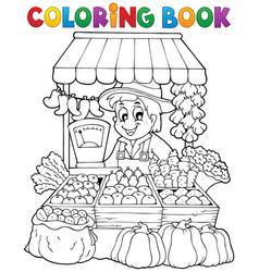 coloring book farmer theme 2 vector image