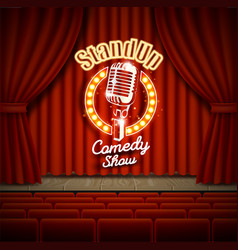 Comedy show theater scene with red curtains vector