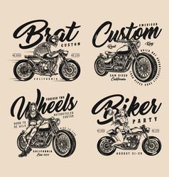 custom motorcycle vintage designs set vector image