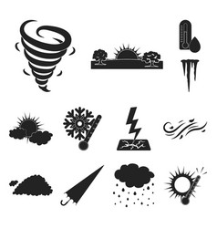 different weather black icons in set collection vector image
