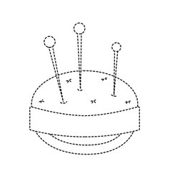 Dotted shape pin and pincushion sewing tool object vector