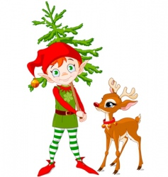 elf and Rudolf vector image