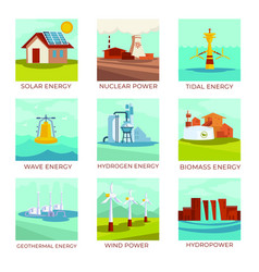 energy sources power plants and natural resources vector image