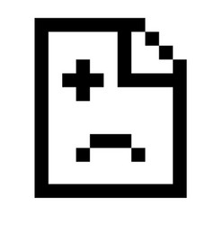 error icon in the form of pixel graphics vector image