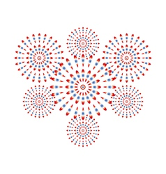 Fireworks red and blue on white background vector