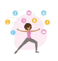 Fitness woman doing exercise lifestyle vector