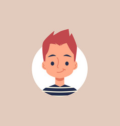 Flat cartoon portrait little boy with spiky vector